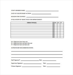 Disciplinary Form Template Free EMPLOYEE DISCIPLINARY