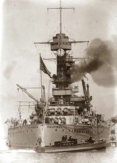 """USS California (BB-44) - Tennessee-class battleship - Commissioned: 10 August 1921 Displacement: 32,300 tons (40,950 after refit) Length: 624.5 ft (190.3 m) Beam: 97.3 ft (29.7 m) (original) 114 ft (35 m) (rebuilt) Draft: 30.3 ft (9.2 m) Speed: 21 kn (24 mph; 39 km/h) Complement: 57 officers, 1,026 men - Nickname: """"The Prune Barge"""" - Sold for scrap, 10 July 1959"""