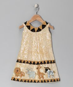 Cream Sequin Safari Dress - Toddler & Girls | Daily deals for moms, babies and kids
