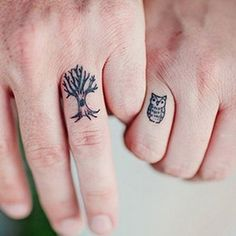 Owl and Tree Wedding  Tattoo Idea