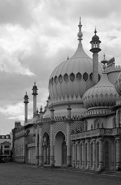 Black & white photograph of the domes of The Royal Pavilion, Brighton, East Sussex