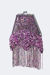 Purple BEAD EMBROIDERY GEMSTONE CLUTCH
