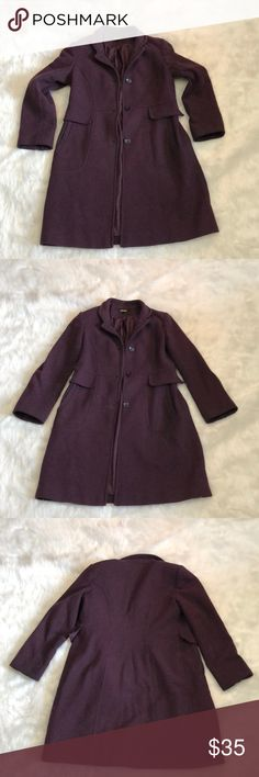 DKNY Dark Purple Peacoat DKNY Dark Purple Peacoat Wool & Nylon Blend. Size: 8 Petite. 80% Wool, 20% Nylon. In Gently Used Condition. Dkny Jackets & Coats Pea Coats