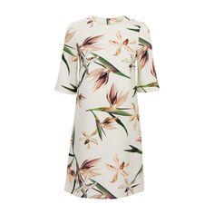 A-lijn jurk met strelitziaprint Offwhite | Steps