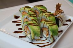 American Dream Sushi Roll Spicy crab, shrimp tempura, cream cheese, avocado.