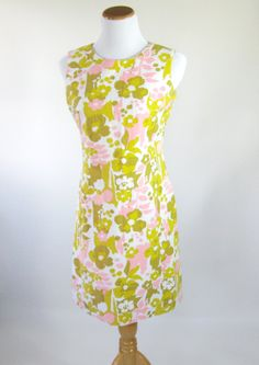 60s Floral Shift Dress Pink Green Womens by BijouVintageBazaar, $32.99