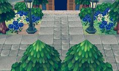 Idée 5 : Cette fois pour un style moderne je propose d'utiliser un paterne pour vraiment définir un sol et de l'entourer des cèdres, d'y mettre des lampadaires ( pour rappeler le style moderne ) et d'y ajouter des fleurs ( ici la gare est bleue donc des roses bleues )