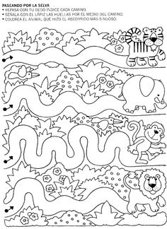 Crafts,Actvities and Worksheets for Preschool,Toddler and Kindergarten.Lots of worksheets and coloring pages. Preschool Writing, Preschool Printables, Preschool Worksheets, Prewriting Skills, Rainforest Theme, Le Zoo, Animal Worksheets, Pre Writing, Preschool Activities