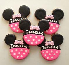 Minnie Mouse Birthday Cookies 24 by SugarySweetCookies on Etsy