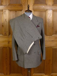 VINTAGE SAVILE ROW BESPOKE HEAVYWEIGHT GREY WORSTED FLANNEL D/B SUIT 40L