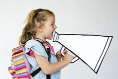 Portrait of a young girl with a megaphone Premium Photo Happy Children's Day, Happy Kids, Cute Girls, Little Girls, Doodle On Photo, Kid Character, Girls Hand, Child Day, Poses