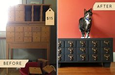 Before & After: A Dusty Card Catalogue Gets Updated for Apartment Living