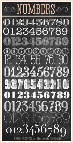 Free Fonts and Printable Combinations - Chalkboard number fonts Chalk Lettering, Typography Fonts, Chalkboard Lettering Alphabet, Lettering Ideas, Lettering Tattoo, Lettering Styles, Diy Tattoo, Tattoo Ideas, Tattoo Free
