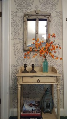 Two tone gray damask stenciled wall