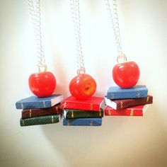 Book stack teacher necklace