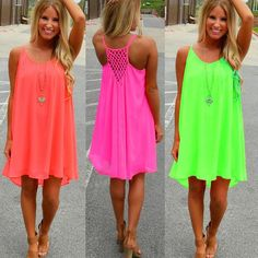 HOT HOT HOT Cool Chiffon Summer Dress in 3 Neon Color Options PLUS SIZE AVAILABLE - Loluxe - 1