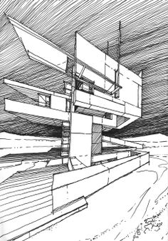 MARS ARCHITECTURES / Drawings by Stefan Davidovici, Architect - Milan, Italy | the architecture draftsman