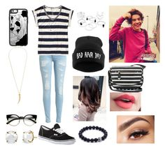 """""""Out With Harry"""" by jadahoran123 ❤ liked on Polyvore featuring Maison Scotch, Vans, Casetify, Kenneth Jay Lane, Apt. 9, Irene Neuwirth and Lancôme"""
