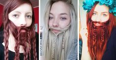 5 Here women have braided their hair into a girly beard. I like the use of braids as it makes look less masculine. I will consider using braids as I like the way it looks in these images.
