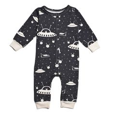 French Terry Baby Jumpsuit - Outerspace Charcoal