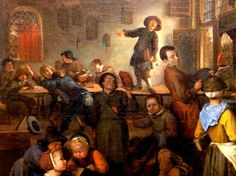 """KDS Photo, Scottish National Gallery, detail of oil painting by Jan Steen, """"A School for Boys & Girls"""","""
