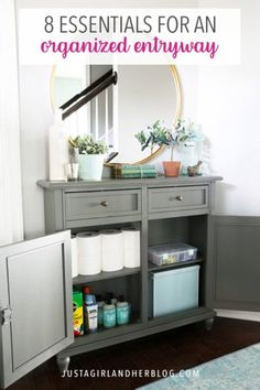 Create an organized entryway that's both practical and beautiful so that entering and leaving the house can happen quickly and easily! | #organizedentryway #entrywayorganization #organizedentry #entryorganization Entry Organization, Small Space Organization, Home Organization Hacks, Organizing Tips, Organized Entryway, Narrow Cabinet, Entry Closet, Diy Home Repair, Home Hacks