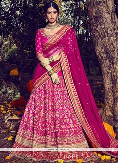 Precise beauty can come out from your dressing trend with this magenta bhagalpuri silk and net lehenga choli. This pretty attire is showing some remarkable embroidery done with embroidered, resham and...