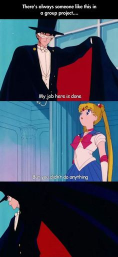 Always that one person on a group project... (plus, this is my precise problem with Tuxedo Mask.  He does squat).