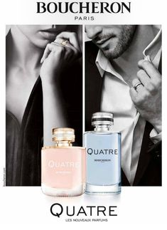 Boucheron Quatre and Quatre Pour Homme ~  Quatre women's edition is a floral-fruity fragrance with a woody background. It opens with accords of bitter orange, red currant, green tangerine, lemon and grapefruit. Sambac jasmine and rose form the heart, along with accords of wild strawberry, peach and apple. The base includes notes of golden woods, cedar, cashmere, musk, vanilla and caramel.
