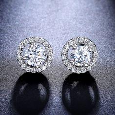 Glitzs Jewels 925 Sterling Silver Cubic Zirconia CZ Stud Earrings for Women Heart London Blue 4mm