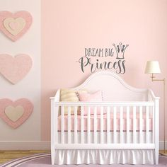 Dream Big Princess Girl Nursery Wall Decal Above Crib  #princess #decor #decal #vinyl #girl #room #nursery #girls #mural #giftideas