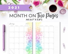2021 A6 Printable Monthly Calendar Insert On Two Pages with image 0 Weekly Planner Printable, Monthly Planner, Watercolor Splatter, Mini Happy Planner, Printer Paper, Planner Inserts, Hourglass, Planner Ideas, Calendar