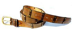 Brown Vintage Leather Belt, Jeans Belt, Men's Belt, Uniqe Design, Genuine leather belt with leather stripes and bronze buckle -