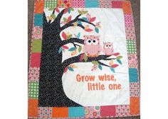 Baby Owl quilt by polkadotquilting on Etsy, $150.00