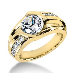 1 Carat Solitaire Mens Diamond Ring 1.45ctw 14K White, Rose or Yellow Gold