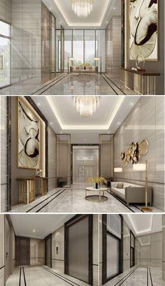 Lobby Interior, Luxury Homes Interior, Modern Interior, Home Interior Design, Interior Architecture, Luxury Apartments, Home Office Design, House Design, Hotel Lobby Design