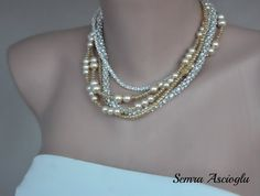 Weddings  Champagne Glass  Pearl Necklace Bridsmaids by kirevi8, $64.00