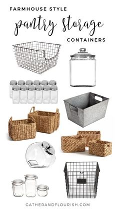 kitchen pantry storage Recently, I shared some Pantry Organization Inspiration with you all. Today, I will be sharing my favorite Farmhouse Style Pantry Storage. Pantry Storage Containers, Pantry Organisation, Kitchen Pantry Design, Kitchen Organization Pantry, Organization Hacks, Organizing Ideas, Kitchen Ideas, Pantry Ideas, Kitchen Layout