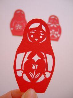 Matryoshka papercut - cherry red - Tulip in Heart OOAK Red Tulips, Cherry Red, Paper Cutting, Heart, Frame, Handmade, Stuff To Buy, Design, Picture Frame