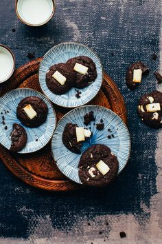 Chewy Dark Chocolate Cookies with White Chocolate Chunks. Chewy, deeply chocolatey brownie-like cookies with melty white chocolate chunks.