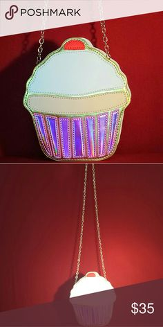 """Cupcakes For Grown Ups! """"Cupcake Purse Grown Ups CAN Still Have Cupcakes! Very Limited Quantity of The Cupcake Iridescent Purse w/ Gold Strap.  It's a Brand New, Super Fun, Iridescent Cupcake: 7.48"""" Tall by 6.50in Wide. The Gold Chain Strap: 48"""".  And they told us we couldn't have cupcakes anymore..... This is the first offering from our new """"Cupcakes for Grown Ups Collection"""" of about a DOZEN Cupcake items---and these won't make your hips bigger ladies! Pinky Lemonade Bags Crossbody Bags"""