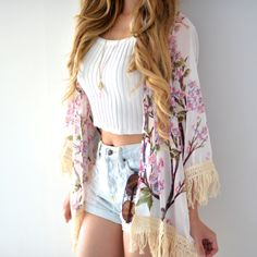 """Probably the most romantic pattern we've seen on a kimono!! One Size Fits S/M: shoulder 16.5"""" / 42cm Length: longer than 33"""" / 85cm Material: chiffon Feels: light and sheer"""
