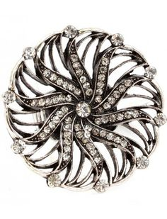 SILVER CRYSTAL SWIRL FLOWER LADIES FASHION STRETCH RING - View All Rings - Rings - Jewellery