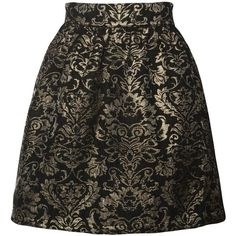 Apricot Black Gold Brocade Print Skirt ( 13) ❤ liked on Polyvore featuring  skirts 7cf15d5a5b5