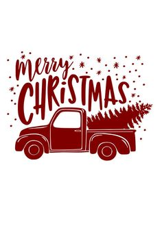 Merry Christmas Red Truck SVG File Quote Cut File Silhouette