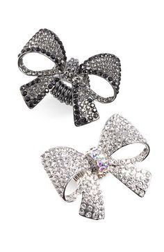Cara Accessories Oversized Pavé Bow Stretch Ring