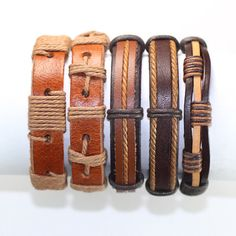 5 Piece Handmade Leather Bracelet Set Material: Leather and hemp. Color: The color and style are like the pictures. Size: Length with closure