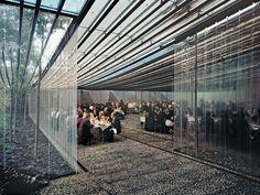 RCR arquitectes Extension restaurant à Olot. Rideaux plastique.