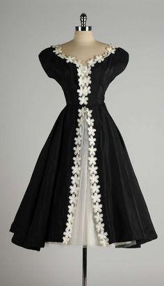 Vintage 1950's Black Taffeta White Macrame Flower Dress