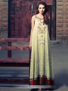 Flared long #evening #dress, boat neckline, embellished front and hemline, tea green http://www.needlehole.com/tea-green-evening-dress-long-shirt-trousers-and-dupatta.html Evening dresses and special occasion #salwar kameez collection by tena durrani. Pakistani salwar kamiz and bridesmaid dresses in uk, usa, australia, saudi arab, canada